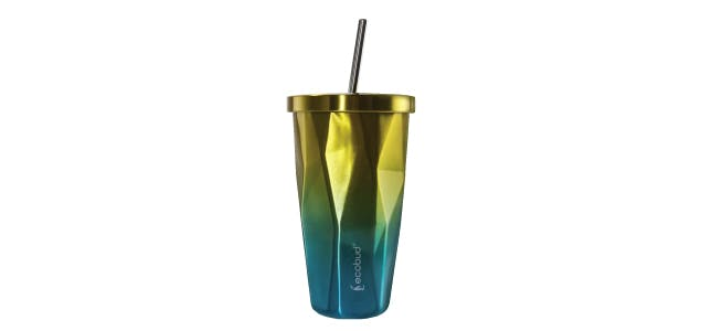 Stainless Steel Cup With Straw - Yellow