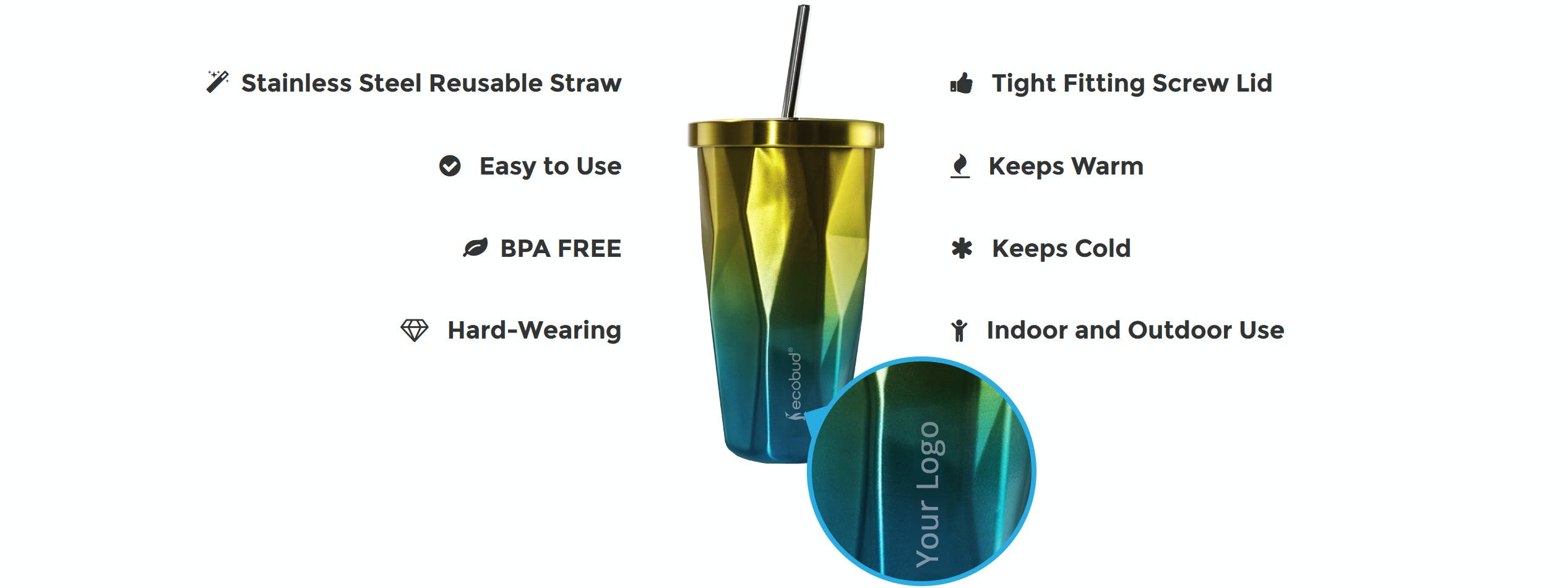 Stainless Steel Cup and Straw - Yellow